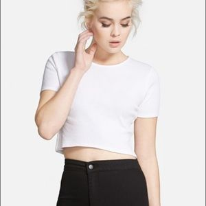 NWT TOPSHOP / WHITE RIBBED CROP TEE